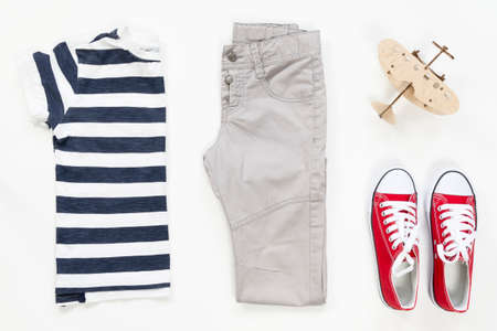 Summer males collection collage of clothing isolated white background