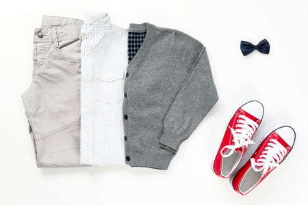 trendy fashion male set clothing elements on white background