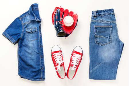 Set of stylish denim clothes, kid trendy fashion clothes collage on white, flat lay, top view Stock Photo - 122264997
