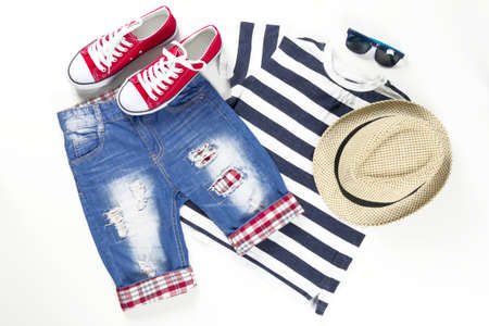 Collage of children clothing in marine style. Summer, spring boy outfit. Fashion trendy look.