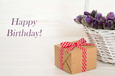 Happy Birthday card and flowers arranged in gift box Stock Photo - 122265003