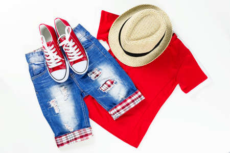 Collage of children clothing in marine style. Summer, spring boy outfit. Fashion trendy look. Stock Photo - 122265008