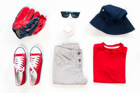 collection collage of men's clothing and accessories. Overhead of essentials kid boy on vacation. Summer outfit of casual man, Stock Photo - 122265303