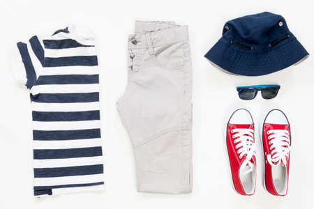 collection collage of mens clothing and accessories. Overhead of essentials young man on vacation. Summer outfit of casual man, Stock Photo
