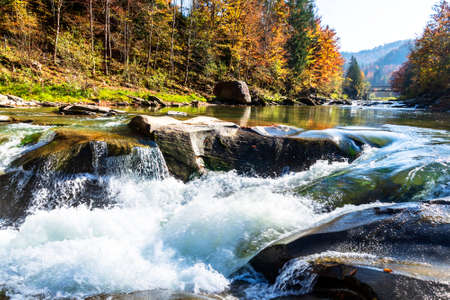 Beautiful waterfall in forest, autumn mountains landscape. Carpathian Stock Photo