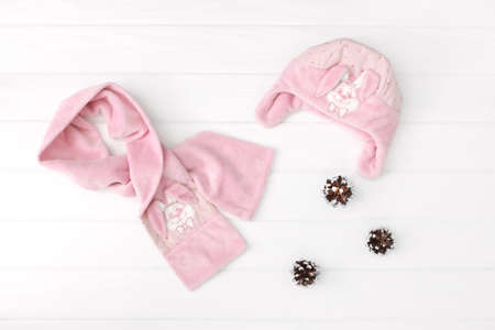 Set of childrens winter or autumn clothes for girl. scarf and hat on white background.