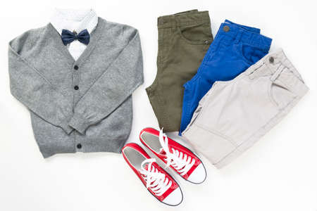 Set of trendy fashion male clothing elements isolated on white, school concept uniform. Back to school concept