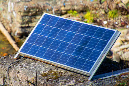 solar battery panel, power panel, on the nature of the mountains