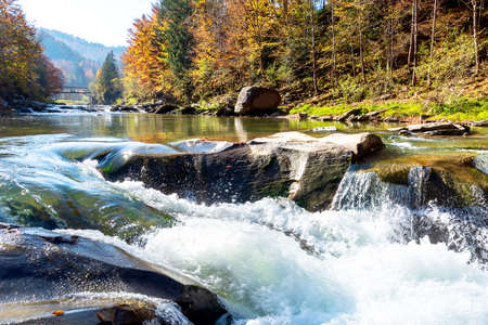 Beautiful waterfall in forest, fresh water flows between stones and rocks, wonderful landscape, wild natures beauty Standard-Bild