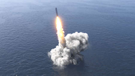 Ballistic missile launch from underwater 3d illustration