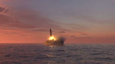 Ballistic missile launch from underwater at sunset