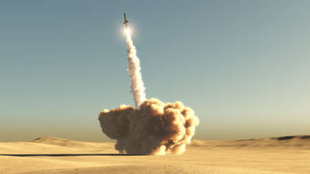 Rocket start from desert 3d illustration
