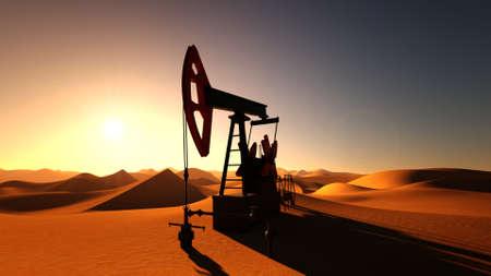 Oil pump in desert on sunset 3d illustration