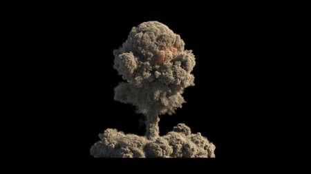 Atomic explosion on black background 3d illustration Banque d'images