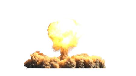 Atomic explosion on white background 3d illustration