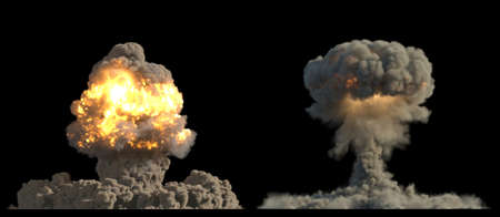 Nuclear explosions on black background 3d illustration