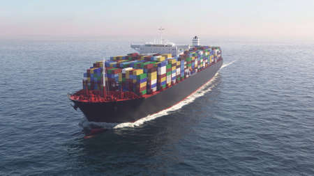 Container ship in the ocean
