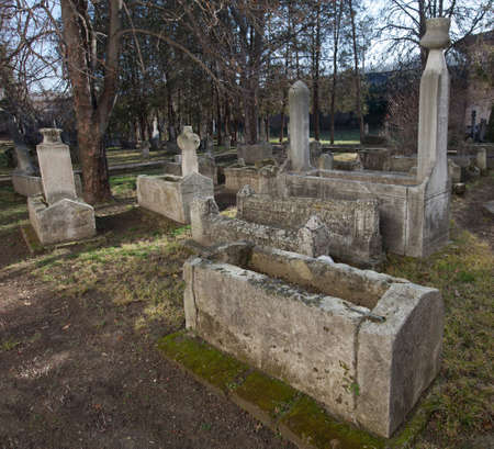 Bakhchisaray, Crimea, Ukraine - January 04, 2012. Museum Residency of Crimean Khan. Old muslim cemetery. Muslim culture photo