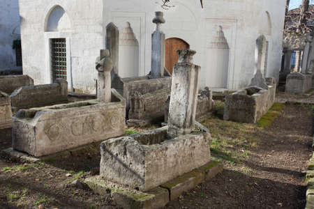 Bakhchisaray, Crimea, Ukraine - January 04, 2012. Museum 'Residency of Crimean Khan'. Old muslim cemetery. Muslim culture photo