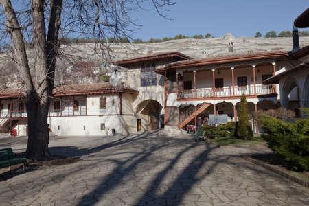 sunni: Bakhchisaray, Ukraine - January 04, 2012. Museum Residency of Crimean Khan. Entrance to the museum. Muslim architecture Stock Photo