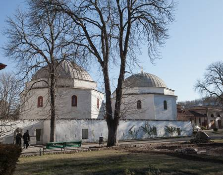 Bakhchisaray, Crimea, Ukraine - January 04, 2012. Museum Residency of Crimean Khan. Old muslim mausoleum. Muslim culture photo
