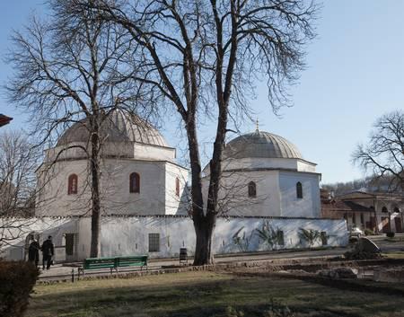 residency: Bakhchisaray, Crimea, Ukraine - January 04, 2012. Museum Residency of Crimean Khan. Old muslim mausoleum. Muslim culture
