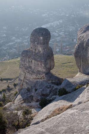 pastureland: Bakhchisaray, Crimea, Ukraine - January 04, 2012. Landscape with rocks