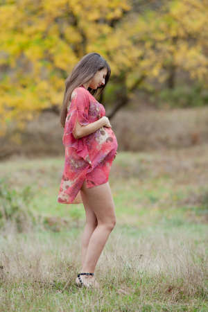 Pregnant woman in the autumn park. Expectant mother walks on open air photo