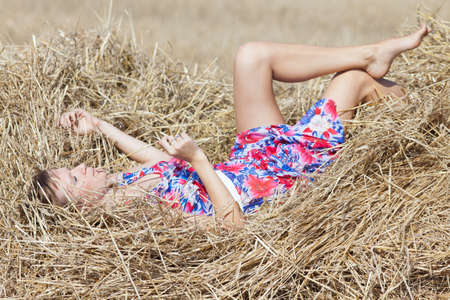 hayloft: Girl lying on hayloft
