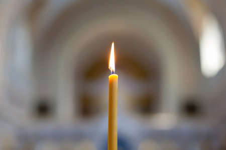 Single lit candle  Lit candle in the Orthodox Church