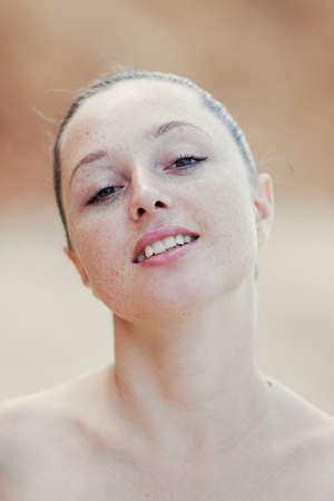 eastern european ethnicity: Girl at the sea  Portrait of young woman outdoors  Stock Photo