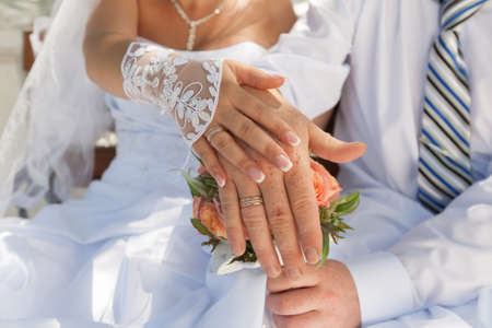 newly wedded couple: Hands of newly wedded in time of wedding