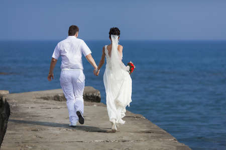 newly wedded couple: Newly wedded couple on seashore. Just married running along pier, rear view Stock Photo