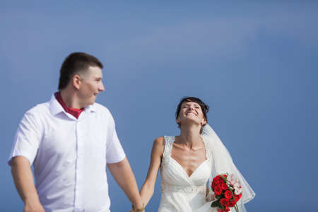 newly wedded couple: Newly wedded couple on open air. Just married in day of them wedding Stock Photo