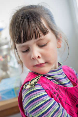 eastern european ethnicity: Child and butterfly. Preschool girl looking suspiciously on papilio machaon on her shoulder