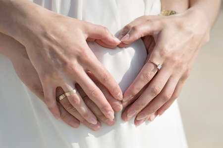 expectant mother: Four hands on belly of pregnant woman. Couple posing a hearts with their fingers on belly of expectant mother