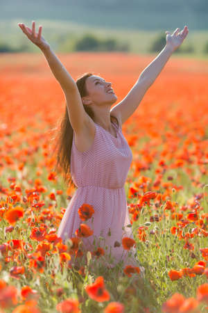 sleeveless dress: Girl at blooming poppy field. Young woman in sleeveless dress posing with arms raised in poppy field in evening time Stock Photo