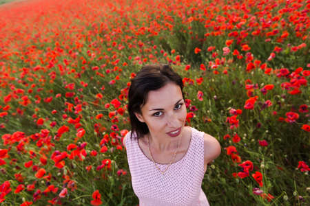 slim woman: Girl at blooming poppy field. Young woman posing in poppy field in evening time