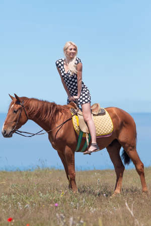 gelding: Horsewoman. Young blonde woman in polka-dot dress rides on brown gelding Stock Photo