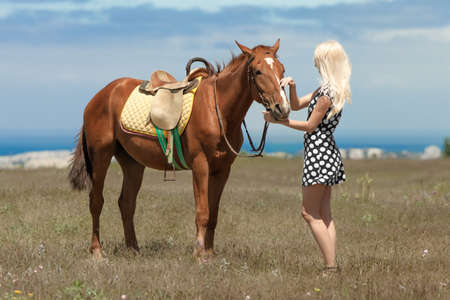 open girl: Gelding and blonde woman. Young blonde woman in polka-dot dress with brown horse.