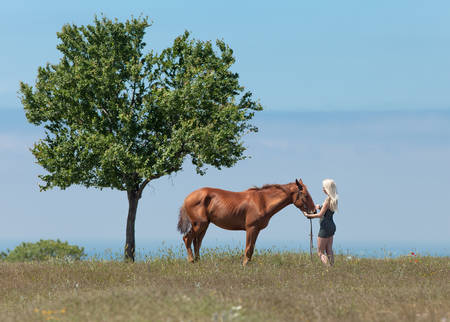 gelding: Landscape with blonde woman, gelding and tree. Young blonde woman in polka-dot dress holding the reins of brown horse