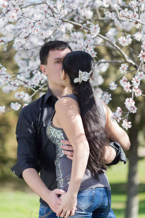 occiput: Attractive couple in blossoming park. Girl and guy kissing among of blossoming almond branches