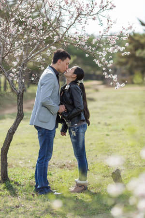 russian ethnicity caucasian: Attractive couple in blossoming park. Asian girl and european guy kissing against of blossoming almond trees Stock Photo