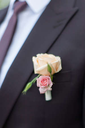 boutonniere: Boutonniere on grooms wedding jacket. Wedding boutonniere from cream and pink rose on suit of groom Stock Photo