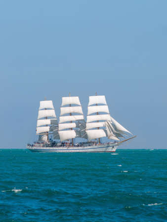 Seascape with russian sailboat. Russian training ship of navy Khersones floating in Black sea Stock Photo
