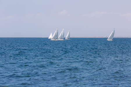 Seascape with yachts. Group of sailing yachts floating at the sea