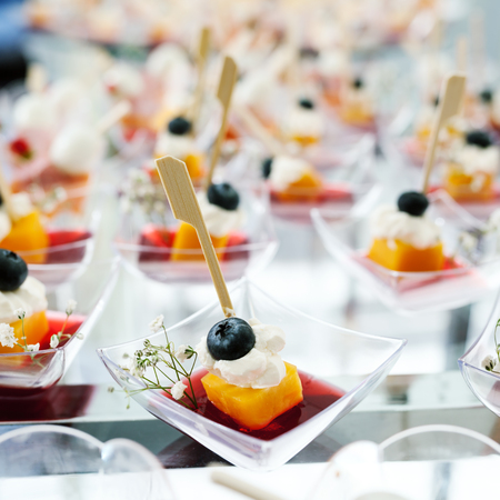 holiday catering: Holiday Appetizers banquet table setting in restaurant Stock Photo