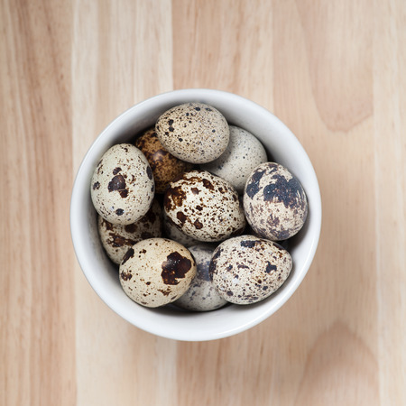 pigeon egg: quail eggs in a  bowl on a wooden background