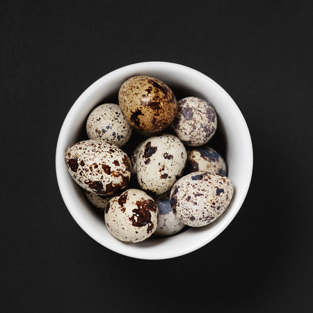 pigeon egg: quail eggs in a bowl selective focus with shallow depth of field on a black background
