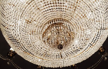 chandelier background: Chrystal chandelier close-up. Glamour background with copy space